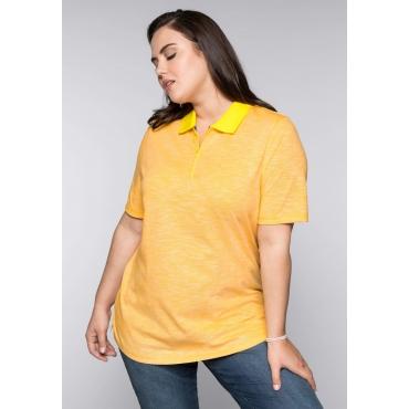 Große Größen: Poloshirt mit Reißverschluss, sonnengelb, Gr.44/46-56/58
