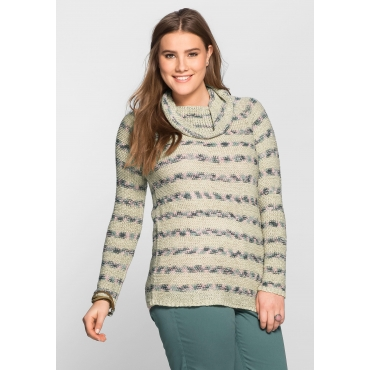 Große Größen: Pullover aus Bändchengarn, beigefarben, Gr.40/42-56/58