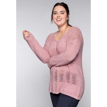 Große Größen: Pullover aus Bändchengarn im Ajourstrick, rosé, Gr.44/46-56/58