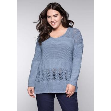 Große Größen: Pullover aus Bändchengarn im Ajourstrick, taubenblau, Gr.44/46-56/58