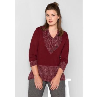 Große Größen: Pullover aus Glattstrick, bordeaux, Gr.40/42-56/58