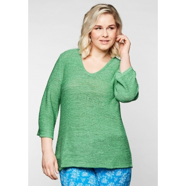 Große Größen: Pullover aus leicht transparentem Bändchengarn, minze, Gr.44/46-56/58