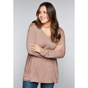 Große Größen: Pullover aus mehrfarbigem Garn, lachs meliert, Gr.44/46-56/58