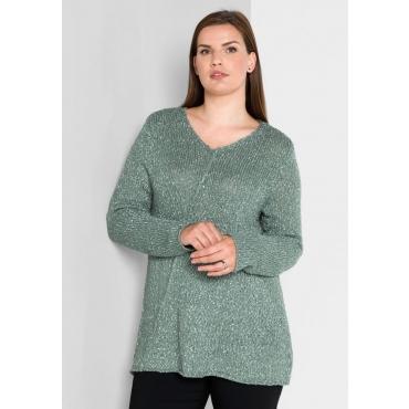 Große Größen: Pullover aus Strukturgarn, eukalyptus, Gr.40/42-56/58