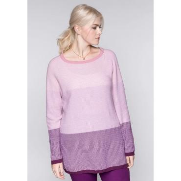 Große Größen: Pullover im Blockstreifen-Design, lila, Gr.44/46-56/58