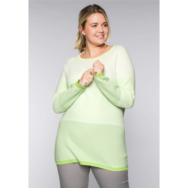 Große Größen: Pullover im Blockstreifen-Design, lindgrün, Gr.44/46-56/58