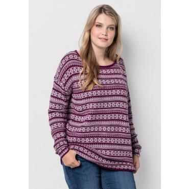 Große Größen: Pullover im Jacquardstrick, beere, Gr.40/42-56/58
