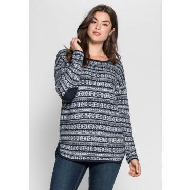 Große Größen: Pullover im Jacquardstrick, marine, Gr.40/42-56/58