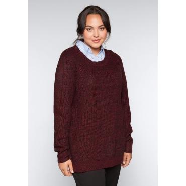 Große Größen: Pullover im Patentstrick, bordeaux meliert, Gr.44/46-56/58