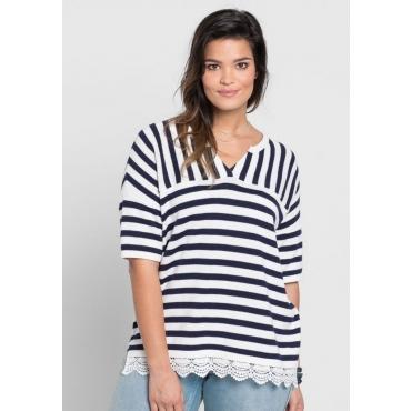 Große Größen: Pullover im Streifen-Mix, marine-weiß, Gr.40/42-56/58