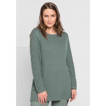 Große Größen: Pullover im Strick-Mix mit U-Boot-Ausschnitt, eukalyptus, Gr.44/46-56/58