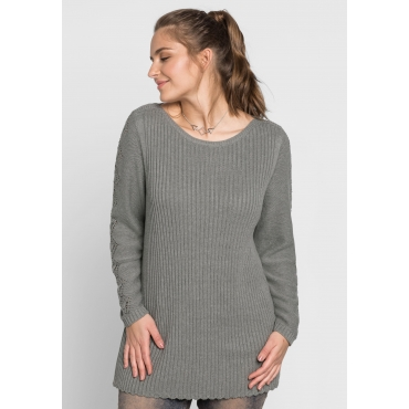 Große Größen: Pullover im Strick-Mix mit U-Boot-Ausschnitt, grau meliert, Gr.44/46-56/58
