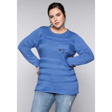 Große Größen: Pullover im Strickmix, azurblau, Gr.44/46-56/58