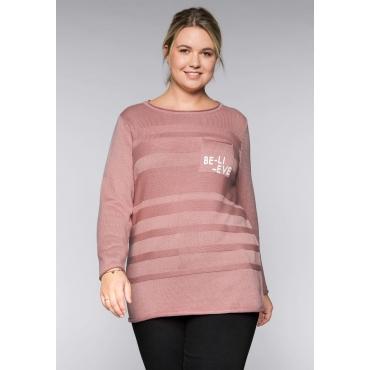 Große Größen: Pullover im Strickmix mit Brusttasche, rosenquartz, Gr.44/46-56/58