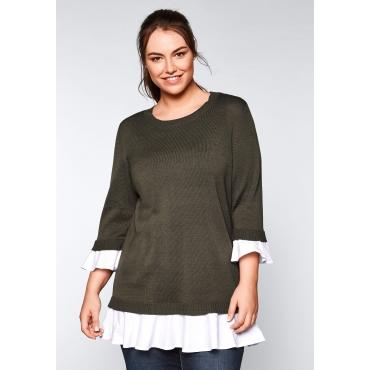 Große Größen: Pullover in 2-in-1-Optik, dunkelkhaki, Gr.44/46-56/58
