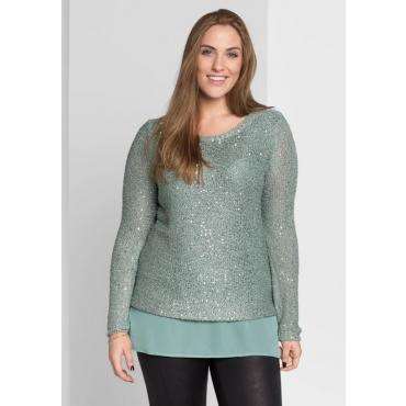 Große Größen: Pullover in 2-in-1-Optik, eukalyptus, Gr.40/42-56/58
