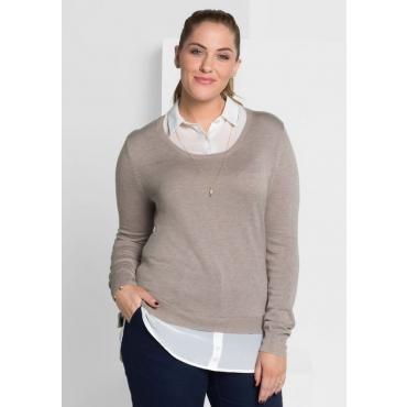Große Größen: Pullover in 2-in-1-Optik, hellgrau meliert, Gr.40/42-56/58