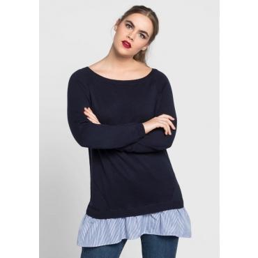 Große Größen: Pullover in 2-in-1-Optik, marine, Gr.40/42-56/58