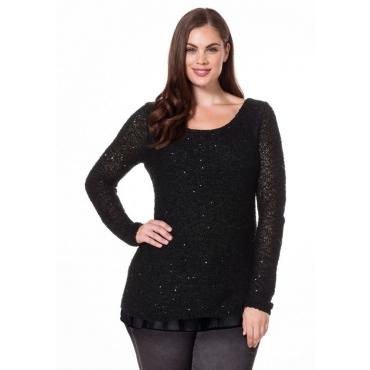 Große Größen: Pullover in 2-in-1-Optik, schwarz, Gr.40/42-56/58