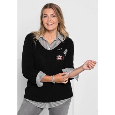 Große Größen: Pullover in breitem Rippstrick, schwarz, Gr.40/42-56/58