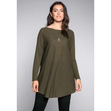 Große Größen: Pullover in Oversize-Form, dunkelkhaki, Gr.44/46-56/58