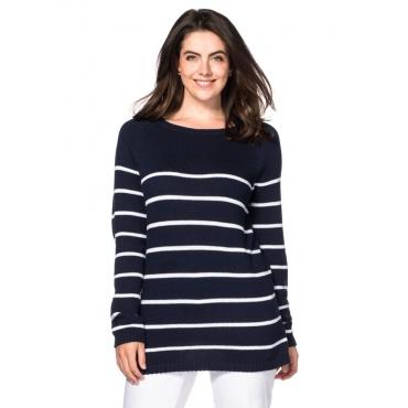 Große Größen: Pullover in Ringeloptik, marine-weiß, Gr.40/42-56/58