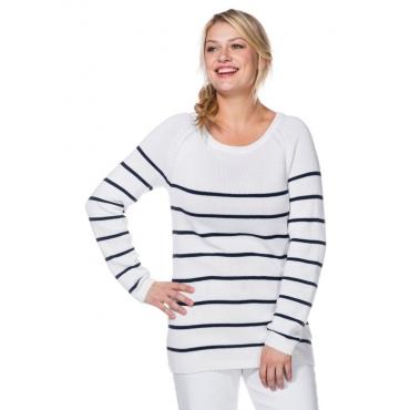 Große Größen: Pullover in Ringeloptik, weiß-marine, Gr.40/42-56/58