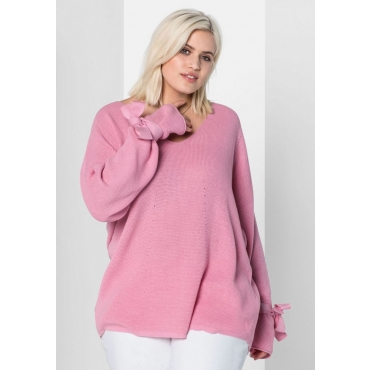 Große Größen: Pullover in Waffelpiqué-Optik, rosé, Gr.40/42-56/58