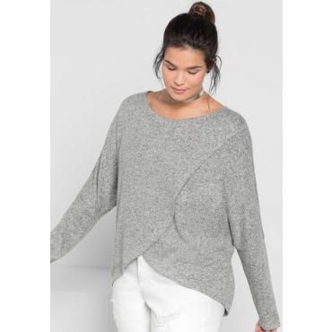 Große Größen: Pullover in Wickel-Optik, grau meliert, Gr.40/42-56/58