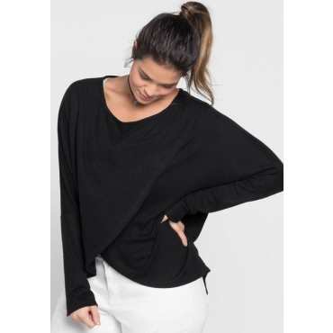 Große Größen: Pullover in Wickel-Optik, schwarz, Gr.40/42-56/58