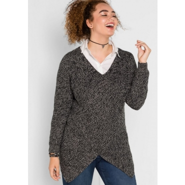 Große Größen: Pullover aus Patent-Strick in Zipfelform, schwarz meliert, Gr.40/42-56/58