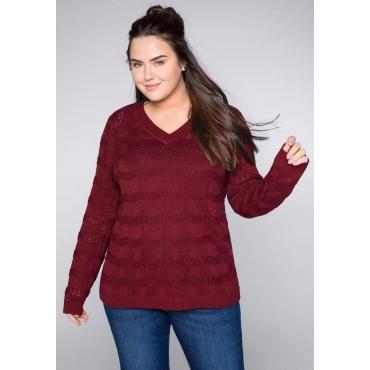 Große Größen: Pullover mit Ajourmuster und Rippbündchen, rubinrot, Gr.44/46-56/58