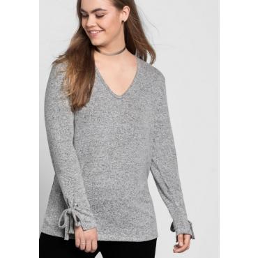 Große Größen: Pullover mit Bindeband am Ärmel, grau meliert, Gr.40/42-56/58
