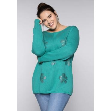 Große Größen: Pullover mit Blüten-Foliendruck, karibiktürkis, Gr.44/46-56/58