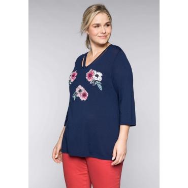Große Größen: Pullover mit Blütenapplikation und Cut-Outs, marine, Gr.44/46-56/58