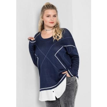 Große Größen: Pullover mit Bluseneinsatz, marine-weiß, Gr.40/42-56/58