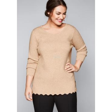 Große Größen: Pullover mit Bogenkante, beigefarben meliert, Gr.44/46-56/58