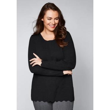 Große Größen: Pullover mit Bogenkante, schwarz, Gr.44/46-56/58