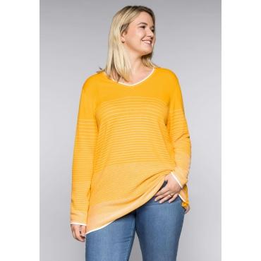 Große Größen: Pullover mit Farbverlauf und Raglanärmeln, gelb-weiß, Gr.44/46-56/58