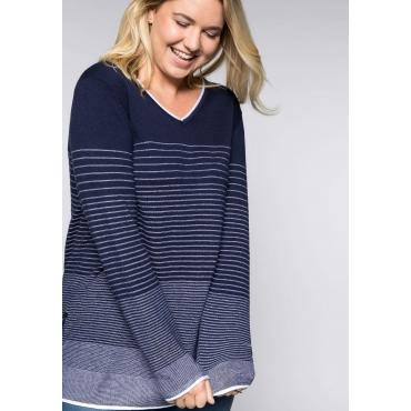 Große Größen: Pullover mit Farbverlauf, marine-weiß, Gr.44/46-56/58