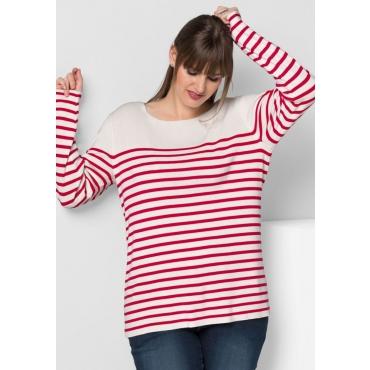 Große Größen: Pullover mit feinen Streifen, offwhite gestreift, Gr.40/42-56/58