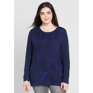 Große Größen: Pullover mit gestricktem Muster, marine, Gr.44/46-56/58