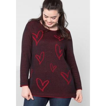 Große Größen: Pullover mit gestricktem Muster, schwarz, Gr.44/46-56/58