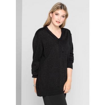 Große Größen: Pullover mit Glanz-Effekt, schwarz, Gr.40/42-56/58