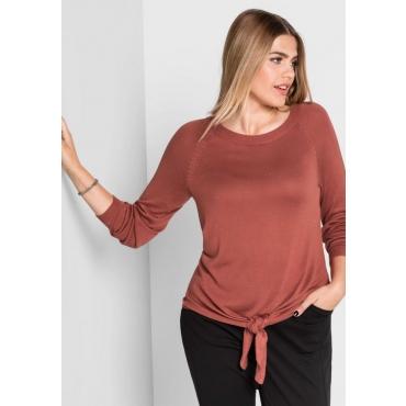 Große Größen: Pullover mit Glitzerfäden, kupferfarben, Gr.40/42-56/58