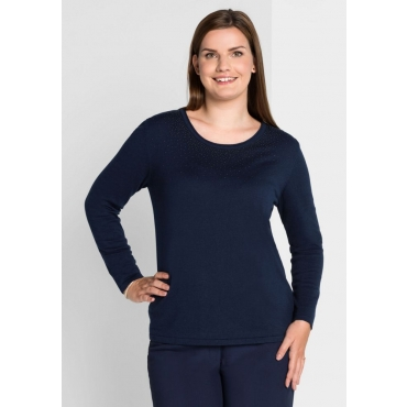Große Größen: Pullover mit Schmuckdekor, marine, Gr.40/42-56/58
