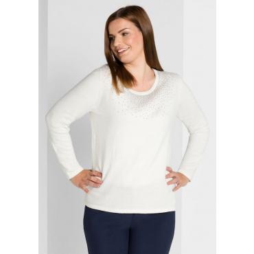 Große Größen: Pullover mit Schmuckdekor, offwhite, Gr.40/42-56/58