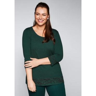 Große Größen: Pullover mit Intarsien, tiefgrün, Gr.44/46-56/58