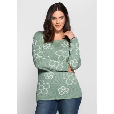 Große Größen: Pullover mit Jacquard-Blumen, jade, Gr.40/42-56/58