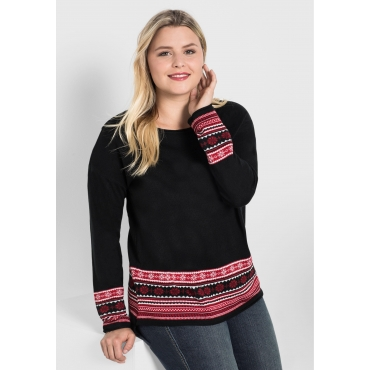 Große Größen: Pullover mit Jacquard-Bordüre, schwarz, Gr.40/42-56/58